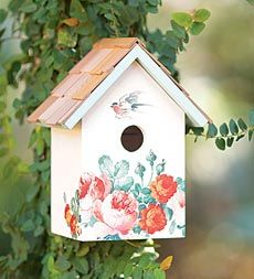 Peony Wooden Birdhouse With Red Cedar Shingle Roof