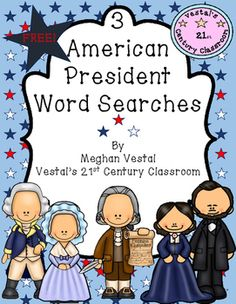 FREE resource!  3 word searches about 3 of the United State's most famous presidents; George Washington, Thomas Jefferson, and Abraham Lincoln.
