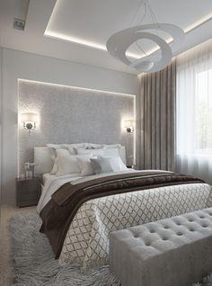 Interior design of a bright bedroom. Дизайн интерьера светлой спальни.