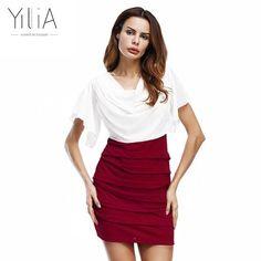 Chiffon Women White Red Black Dress Short Sleeve Pleated Cowl Neck Patchwork Summer Office Dress