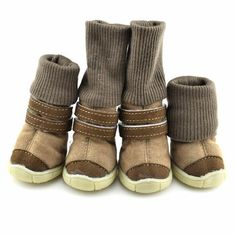 2 Pairs of Winter Pet Winter Anti-slip Cotton Soft Leather Cashmere Waterproof Warm Booties