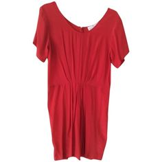 Pre-owned Amanda Uprichard Red Dress ($120) ❤ liked on Polyvore featuring dresses, red, short sleeve cocktail dress, silk cocktail dress, pleated dress, scoop neck dress and red cocktail dress