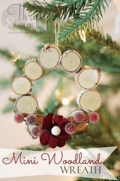 Mini Woodland Wreath Ornament. This mini woodland wreath ornament is both super easy and very quick to make. It looks perfect on your Christmas tree or used as gifts for Christmas.