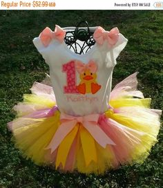 ON SALE Little Duck Birthday Tutu Set Can be by SouthernDande