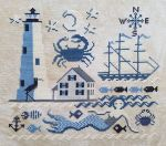 Comfort Lighthouse This cross stitch design by Carriage House Samplings features a mermaid who's enjoying the company of her fellow fish; along with a cute little pelican next to the tall lighthouse. And don't forget the ship on the water in the background. All of these little details and more come together in varying shades of calming blue colors to sooth all who look upon the sea. The stitch count is 130 x 121. Contact Hoffman Distributing Company.