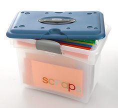 After: Scrap Storage  Save scraps of paper and organize them by color. Stored in a file box, they can easily be toted.