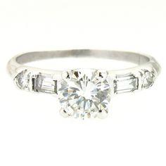 1950's Platinum & Diamond Vintage Engagement Ring, 0.60ct G-VS2