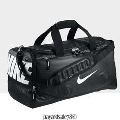 RARE NIKE DUFFLE DUFFEL TRAVEL / SPORTS BAG XL MAX AIR FOOTBALL BLACK CARRY NWT #Nike