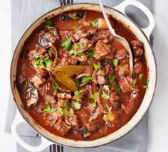Beef in red wine with melting onions