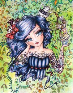 #Hannah Lynn #Tattoo Darlings #Tea Party Alice #perk studios Fairy Coloring, Colouring Pages, Adult Coloring Pages, Coloring Books, Girl Drawing Sketches, Manga Drawing, Mini Me, Hannah Tattoo, Love Is Comic