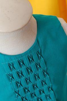Smocking: Inspiration for You - Frances SuzanneFrances Suzanne Chudidhar Neck Designs, Salwar Neck Designs, Neck Designs For Suits, Kurta Neck Design, Neckline Designs, Sleeves Designs For Dresses, Dress Neck Designs, Stylish Dress Designs, Sleeve Designs