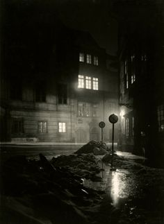 Night, Prague, 1956 by Josef Sudek History Of Photography, Light Photography, Black And White Photography, Street Photography, Landscape Photography, Nocturne, Atelier Series, Josef Sudek, Berenice Abbott