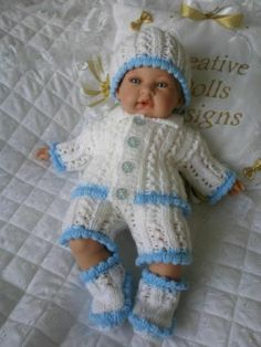 "Hand Knitted Matinee Set Suitable For 14-15"" Berenguer, Premature Baby 