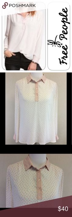 "S FREE PEOPLE pink white horse print top Brand: FREE PEOPLE  Style: 1/2 button up pull over blouse Size: small  Approximate Measurements: pit to pit 20"" shoulder to hem 24""  Material: 100% polyester Features: horse print, ruched shoulder detail,  Condition: very good pre-loved condition,no rips or stains Free People Tops Blouses"