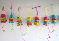 Mini pinatas from toilet paper rolls - perfect Cinco de Mayo craft kid toddler easy favor birthday by joanne Kids Crafts, Arts And Crafts, Mexican Fiesta Party, Diy Y Manualidades, Paper Roll Crafts, Ideias Diy, Blog Deco, Birthday Fun, Birthday Ideas