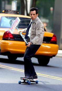 Ben Stiller skateboarding on set