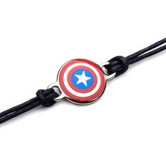 Marvel Captain America Shield Leather Cord Bracelet ($12) ❤ liked on Polyvore featuring jewelry, bracelets, leather cord bracelet, leather rope bracelet, leather jewelry, cord bracelet and leather bangles