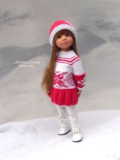 HandKnit Holiday Sweater Dress/Hat for Gotz Happy Kidz dolls by Debonair Designs #DebonairDesigns