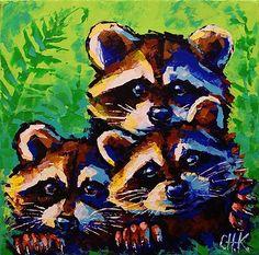 Original Painting Animal Raccoon Cute Eyes Baby Three Face Fern Wildlife by CH K | eBay