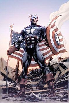 Captain America by Neal Adams Marvel Vs, Marvel Dc Comics, Marvel Heroes, Captain America Art, Chris Evans Captain America, Jack Kirby, Steve Rogers, Comic Book Characters, Marvel Characters