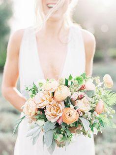 Photography: Sally Pinera - sallypinera.com Floral Design: Poppy Design Co. - poppydesignco.com/http://poppydesignco.com/ Wedding Gown: Alexandra Grecco - www.alexandragrecco.com/   Read More on SMP: http://www.stylemepretty.com/2015/07/10/rustic-elegant-farm-wedding-inspiration/