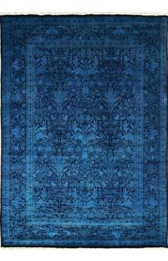 Rugs USA Overdye Linden Blue Rug I like the idea of giving a faded rug a new life and adding a bit of history and accent color to a space. Blue Living Room Decor, Rugs In Living Room, Azul Indigo, Mood Indigo, Rugs Usa, Magic Carpet, Traditional Rugs, Floor Rugs, Rugs On Carpet