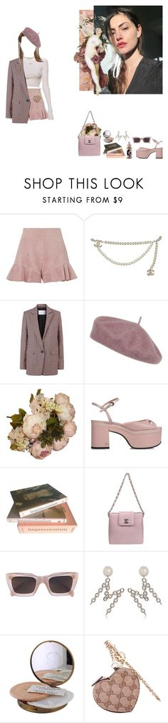 """""""Untitled #276"""" by lilkliu ❤ liked on Polyvore featuring Intermix, Chanel, Sandro, Accessorize, Rochas, Taschen, CÉLINE, Moschino and Gucci"""