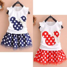 Minnie Mouse Clothes Set Kids Baby Girls Summer Outfits Clothes Sleeveless T-shirt Tops Polka Dot Tutu Skirt Party Price: USD Toddler Dress, Toddler Outfits, Kids Outfits, Fall Outfits, Little Girl Dresses, Girls Dresses, Fashion Kids, Toddler Fashion, Minnie Mouse