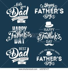 Fathers Day Lettering Calligraphic Emblems, Badges Set. Isolated on Dark Blue. Happy Fathers Day, Best Dad, Love You Dad Inscription. Vector Design Elements For Greeting Card and Other Print Templates