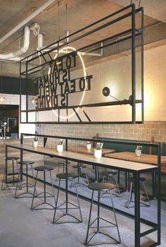 This 40 Stylish Industrial Designs For Your Home, Office, Cafe - Industrial Coffee Shop, Cafe Industrial, Industrial Office Design, Industrial Interiors, Bar Interior Design, Restaurant Interior Design, Industrial Restaurant Design, Cafeteria Design, Cafe Shop Design