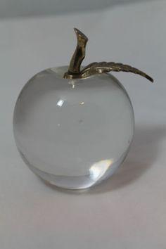 """Art Glass Apple Paperweight Brass Stem 3.5""""x2.5"""" #Gifts"""