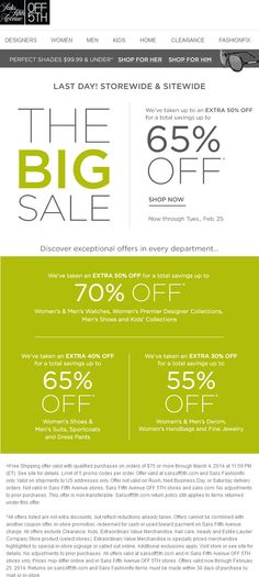 35425c61fbc3a8 Pinned February off going on today at Saks Fifth Avenue OFF ditto online  via The Coupons App