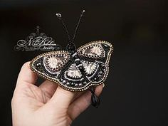 Вышивка бисером бабочка - Ярмарка Мастеров - ручная работа, handmade
