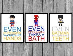 "Children's Superhero Bathroom Prints/Set of 3/ 8x10"" Prints/Boys room decor on Etsy, $19.99"