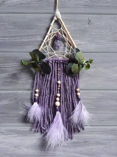 Amethyst Dream Catcher Wall Hanging Rustic Wooden Dream | Etsy