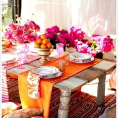 Sangria colors table setting