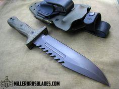 Miller Bros. Blades Bowie. This model is available in Z-Wear PM, CPM 3V, CPM S35VN, Z-Tuff PM and 5160 steels Miller Bros. Blades Custom Handmade Knives, Swords & Tomahawks.
