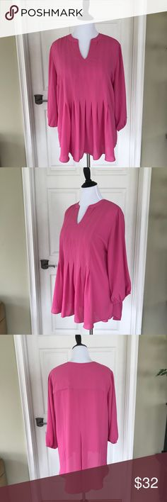 "Melissa McCarthy Pink Blouse Re-poshing the perfect pink blouse! I'm so sad that it's not longer or I'm not shorter. Being 6'2"" has its drawbacks! It's a hi-lo blouse. Size 2X. It's truly adorable and very flattering on. Melissa McCarthy Tops Blouses"