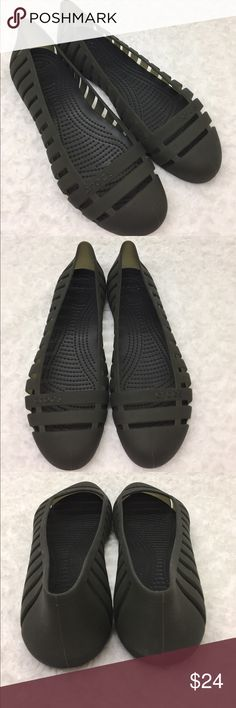CROCS Black Slip On flat Sandals EUC, super comfortable CROCS flat sandals. The material is rubbery and flexible. This is a size 10, wide width pair. 10W. Ask if there are any questions. CROCS Shoes Sandals