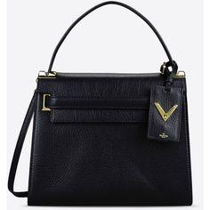 Valentino Garavani Single Handle Bag ($2,685) ❤ liked on Polyvore featuring bags, handbags, shoulder bags, black, leather shoulder handbags, leather purse, black leather purse, valentino handbags and black purse