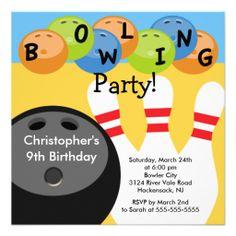 Bowling Birthday Party Invitation Retro