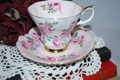 If I were a teacup..this is the one I would want to be. Pink Vintage Royal Albert  Bone China Tea Cup by HoneyandBumble, $21.00