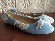 Blue ballet pumps.  Blue wedding pumps/ blue shoes/ something blue