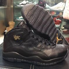 Air Jordan 10 NYC Release Date and detailed images (Black/Black-Dark Grey-Metallic Gold), style 310805-012.