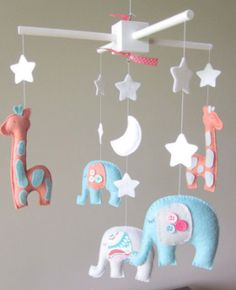 Baby mobile elephant mobile nursery mobile by LoveFeltXoXo Baby Mobile Felt, Baby Crib Mobile, Felt Baby, Baby Crafts, Felt Crafts, Baby Decor, Nursery Decor, Coral Nursery, The Babys