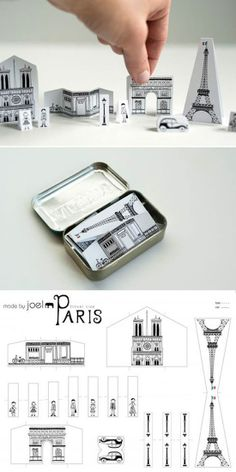 DIY Paper City Paris via Made by Joel - carry Paris in your pocket!. Ieder land een eigen blikje?