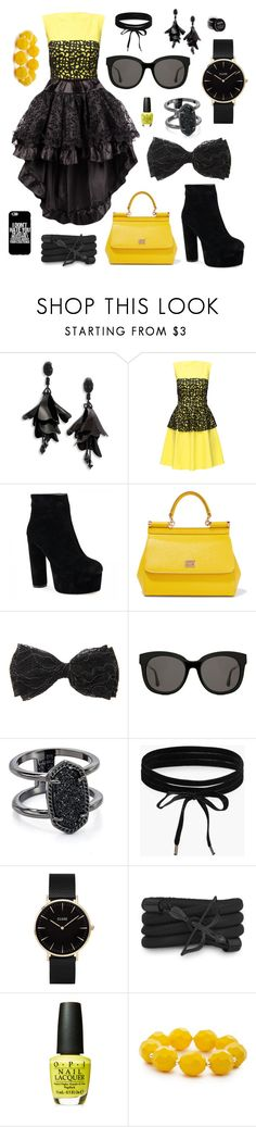 """""""Swallowing Love"""" by the-pink-poppy on Polyvore featuring Oscar de la Renta, Lattori, Dolce&Gabbana, Gentle Monster, Kendra Scott, Boohoo, CLUSE, Monza, OPI and Kim Rogers"""