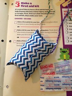 Personal first aid kit for Brownie and Daisy Girl Scouts... Know what it is? Use resources wisely! You know you collect them just in case... Admit it.... Toilet paper rolls covered in duct tape. Smush flat, fold in the bottom (reinforced with tape) fold in the top but leave untapped to access. I put the top strip of tape overlapping the end of the roll so that I could fold it in for extra strength.