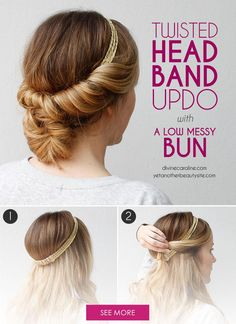 Take your tuck and cover to the next level with a low messy bun. This adorable updo is so easy you can do it yourself with your favorite headband and a few bobby pins. Give it a try the next time you have second-day curls and don't know what to do with them.