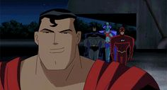 justice league unlimited jlu they all fly off dramatically and its so epic and then theres bruce light jogging his way to the gia